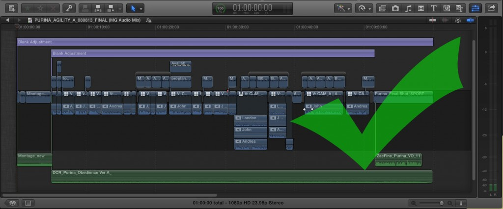 Correct timeline audio component editing